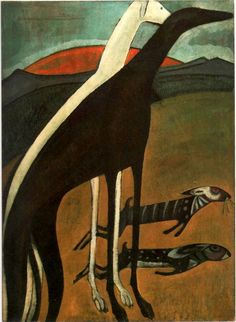 Os galgos - Amadeo de Souza Cardoso hand-painted oil painting reproduction,animals on hills sunrise, Greyhound Kunst, Oil Canvas, Art Prints For Sale, Art Database, Oil Painting Reproductions, Fine Art, Animal Paintings, Dog Art, Oeuvre D'art