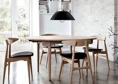 Danish Modern CH33 Chairs, Table and Fixture by Designer Hans J. Wegner.