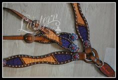 custom ordered purple and orange inlayed croc tack set with antique copper conchos covered in crystals. Buyers initials painted in orange/purple on center strap.