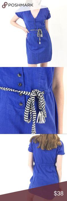 "J. Crew Dress Cotton J. Crew Dress in a gorgeous, deep blue. Dark pearl-like buttons + drawstring waist for an adjustable look. Size 4. Length of 35"", bust of 36"", waist of 33"". EUC. Retail $120. J. Crew Dresses"