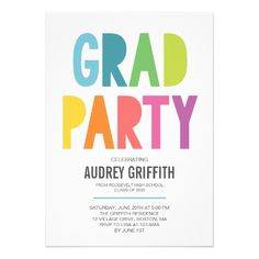 594 best graduation invitations graduation party cards images on 2016 graduation invitation bright colorful grad party invitation filmwisefo
