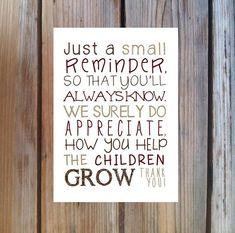 Teacher Gift. Teacher Appreciation Poem Print. by PoppyseedPrints, $6.00