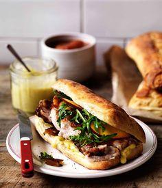 Australian Gourmet Traveller recipe for Porchetta, crackling and nectarine relish on ciabatta Pork Recipes, Cooking Recipes, Tasty, Yummy Food, Wrap Sandwiches, Gourmet Sandwiches, Hamburgers, Pork Belly, Starbucks Recipes