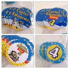Ontem também foi dia de Toy Story do Carlos Eduardo, que comemorou seus 4 aninhos. Estas foram os toppers para os doces! #topper #personalizados #toystory #ratchimbum #loja #novaodessa
