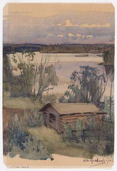 Maisema Nurmeksesta, 1902 – vesiväri paperille – Gebhard, Albert (taiteilija)