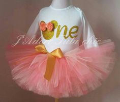 Coral and gold minnie mouse birthday outfit - minnie mouse birthday outfit…