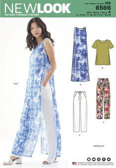 New Look Pattern Misses Sizes Linen Dress Pattern, Tunic Sewing Patterns, Clothing Patterns, Pattern Sewing, Pants Pattern, New Look Dress Patterns, Pants For Women, Clothes For Women, Kurta Designs