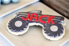 monster trucks/racing/cars Birthday Party Ideas | Photo 2 of 19 | Catch My Party Festa Monster Truck, Monster Truck Cookies, Monster Truck Racing, Monster Truck Birthday, Monster Party, Monster Trucks, Cars Birthday Parties, 3rd Birthday, Birthday Ideas