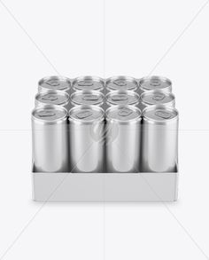 Transparent Pack with 12 Aluminium Cans Mockup (High-Angle Shot)