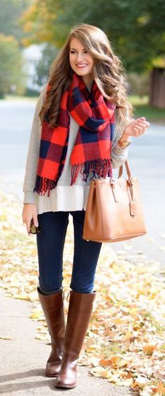 #winter #fashion / gray knit + plaid