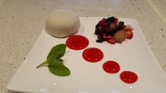 White Mochi with Frozen Fruits & Berry Sauce