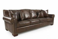 Merveilleux HR IL7701 C   Henredon Leather Sofa | Mathis Brothers Furniture