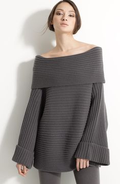 Free shipping and returns on Donna Karan New York Slouchy Stretch Cashmere Sweater at Nordstrom.com. A shoulder-grazing fold-over neckline begins a wide-ribbed stretch-cashmere sweater with a dramatically relaxed shape.