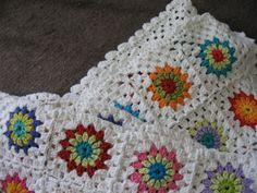 Cotton baby  blanket - flower - crochet handmade
