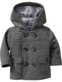 Quilted Fleece Peacoats for Baby overview Built-in hood. Six-button double-breasted front. Button-flap patch pockets in front. Soft, quilted fleece, with smooth taffeta lining. Name-tag label inside. Little Boy Fashion, Baby Boy Fashion, Kids Fashion, Baby Boys, Baby Boy Outfits, Kids Outfits, Gucci Baby Clothes, Little Man Style, Kid Styles