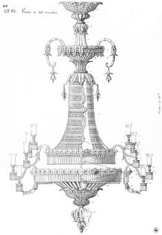 Archive drawing for 157 lights chandelier. #Baccarat