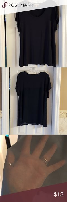 Navy Blue Tracy Ellen top. This top has a sheer panel in the back.  It's been gently used--Worn no more than 10 times.  Bust measurement  is 22 inches, and length is 28.5. Tops Blouses