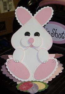 handmade Easter card ... punch art bunny with heart head ... fun card!