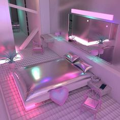 *~holographic neon late night dream home inspo~* holographic pillows || round bed || hot pink silk sheets || holographic rope lights || GIRLS GIRLS GIRLS neon light || heart shaped wall mirror ||...