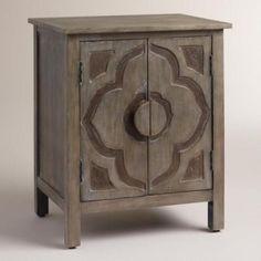 Gray-Wood-Cabinet-Flower-Lotus-Vintage-Design-Door-Storage-Furniture-Nightstand