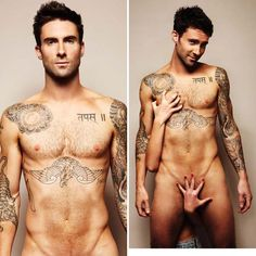 Adam Levine: Naked for Cancer Awareness!: Photo Adam Levine goes naked for a good cause! With only a pair of female hands covering up Adam's dirty bits, the Maroon 5 frontman stripped down to encourage… Maroon 5, Chris Pine, Big Sean, Steve Mcqueen, Adam Levine Tattoos, Sexy Tattoos, Nice Tattoos, Awesome Tattoos, Gorgeous Tattoos