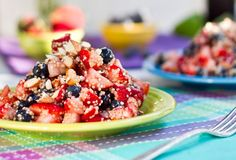 High Protein Quinoa Almond Berry Salad - Amara made this for a MOPS meeting, but she used strawberries, blackberries, and raspberries - and blue agave nectar to sweeten instead of maple syrup.