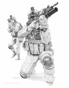 Patrol, Soldier/Marine Drawing  www.brackensdepictions.com  #art #drawing #military #tactical #guns