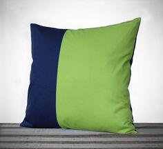 Minimal Linen Pillow Cover in Lime Green and Navy - 18x18 - by JillianReneDecor   Modern Home Decor   Two Tone   Colorblock Pillow #JillianReneDecor