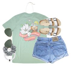 """""""april prep"""" by tabooty ❤ liked on Polyvore featuring Levi's, Birkenstock, Kendra Scott, Natasha Couture and Ray-Ban"""