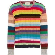 Gucci Striped cashmere and wool-blend sweater (£600) ❤ liked on Polyvore featuring tops, sweaters, gucci, blue, cashmere sweaters, gucci sweater, rainbow sweater, metallic top ve multi colored striped sweater