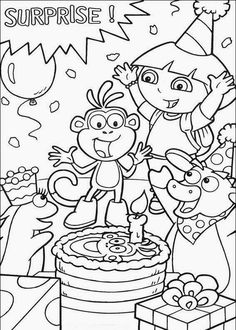 Boots Birthday Cake Dora The Explorer Coloring Page Monkey Pages Cartoon Free Online