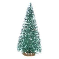 Bottle Brush Tree with Wood Base Teal 12