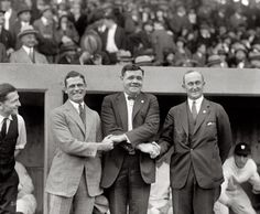 Oct 4, 1924. George Sisler, Babe Ruth and Ty Cobb at first game of the 1924 World Series.