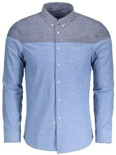 b5ae89174fe9 Pocket Button Down Color Block Shirt - Light Blue Xl Ανδρική Μόδα