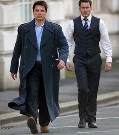 John Barrowman as Capt. Jack Harkness with Gareth-David Lloyd (Ianto) on Torchwood
