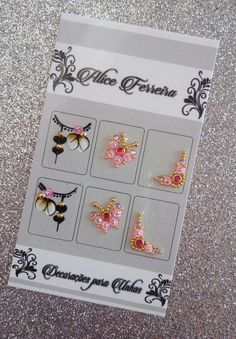Gem Nails, Pink Nails, 3d Nail Designs, Nail Jewels, Crystal Design, Manicure, Stickers, Rose, Drawings