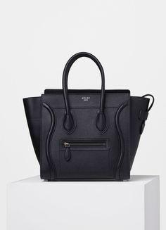 Micro Luggage Handbag in Black Drummed Calfskin - Céline