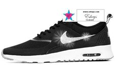Custom Rhinestone Women Nike Air Max Thea Black  Grey  White 3c490d2d1d0a