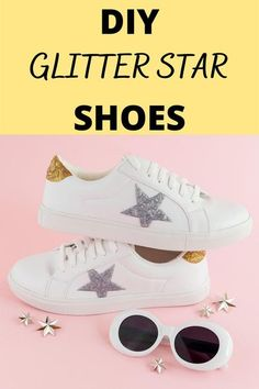 This tutorial shows you how to make the easiest DIY Glitter Sneakers! #diyglittershoes Diy Glitter Sneakers, White Sneakers, Glitter Fabric Paint, Fitness And Beauty Tips, Tulip Colors, Style Outfits, Star Shoes, Glitter Stars, Diy Pins