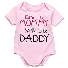 Baby Girl ( Cute Like Mommy, Smelly Like Daddy ) Funny Baby Clothes.