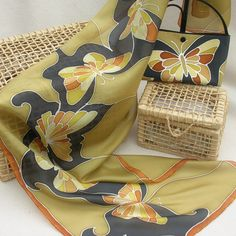 Hand painted silk  Matching set - £45.00 (scarf & handbag)  www.talentosilkandpaperart.co.uk