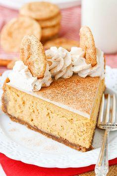 Snickerdoodle Dulce De Leche Cheesecake - cinnamon sugar crust, dulce de leche filling, white chocolate ganache and more cinnamon sugar! Perfect dessert for fall!