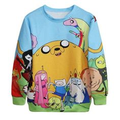 EAST KNITTING Harajuku New Fashion 2015 Women Pullovers Funny 3D Sweatshirts Adventure Time Print Hoodies Top