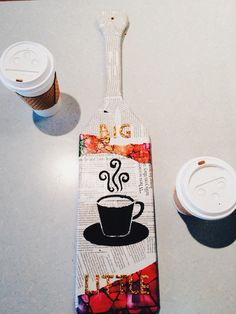 Sorority paddle for a sister that loves coffee and newspaper/magazines