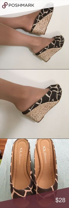 Animal Print Peeptoe Wedges Brand new without box. Cute animal print peeptoe backless wedges by Chinese Laundry. Size 6.5. Will fit a 6.5 or 7 comfortably. Modeled by me on my 7.5 feet which is why they look a little small. Tags: dressy peeptoe wedges leopard giraffe zebra sandals cute summer hot sexy charlotte russe forever 21 free people anthropologie cl by laundry chinese laundry brand name shoes nwot Chinese Laundry Shoes