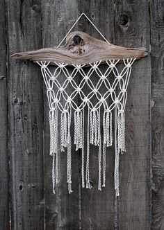 Macramé Wall Hanging on Drift Wood by Free Creatures