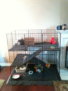 How To Build an Indoor Bunny Cage A 3-level rabbit condo with open top and bottom