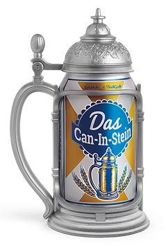 Das Can-in-Stein  Unless you happen to really like Liederhosen, this is all you need to gear up for Oktoberfest. The Das Can-In-Stein looks like a classic pewter tankard with its hinged lid & thumb lever but it's just a holster that fits any 12oz. can. Pröst!