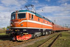 A Green Cargo RC 4 class electric locomotive repainted in its original livery for the Swedish railway anniversary in