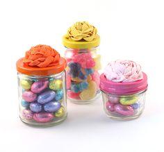 Ribbon Rosette Candy Mason Jars